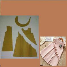 Sewing to children - patterns, needlework Girls Frock Design, Baby Dress Design, Baby Frocks Designs, Kids Frocks Design, Baby Girl Dress Patterns, Doll Clothes Patterns, Skirt Patterns, Coat Patterns, Blouse Patterns