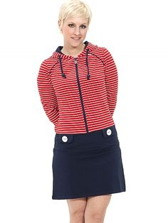 Mandarin Hoody Dress, red striped