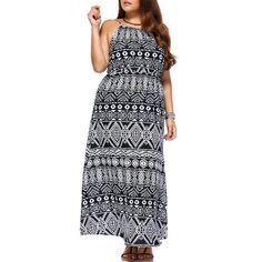 Chic Women's Geometrical Printed Sleeveless Plus Size Dress 11.35 USD