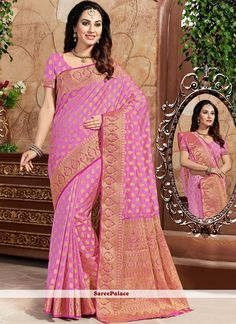 Find women fashion sarees online in various styles. Buy this art silk weaving work traditional saree for festival and party. Traditional Sarees, Pink Art, Indian Beauty Saree, Exclusive Collection, Sarees Online, Belly Dance, Sari, Vogue, Canvas
