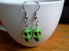Green+Sugar+Skull+Earrings+Howlite+by+RukaDoll+on+Etsy,+$8.95
