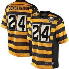Men's Nike Pittsburgh Steelers #24 Coty Sensabaugh Elite Yellow/Black Alternate 80TH Anniversary Throwback NFL Jersey