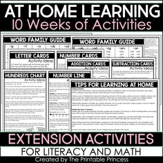 At Home Learning Activities 10 Weeks Addition And Subtraction Worksheets, Free Math Worksheets, Kindergarten Math Worksheets, Multiplication Chart, Teaching Kindergarten, Home Learning, Learning Activities, Educational Activities, Guide Words