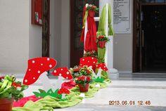 βάπτιση :: στολισμοί βάπτισης :: Στολισμός βάπτισης μέ μανιτάρια :: Στολισμός βάπτισης μέ μανιτάρια - Christmas Wreaths, Table Decorations, Holiday Decor, Gifts, Furniture, Home Decor, Presents, Decoration Home, Room Decor