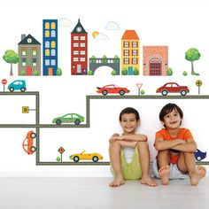 Busy Transportation Town Wall Decals with Cars and Straight Gray Road