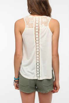 Pins and Needles Inset-Lace Tank Top  #UrbanOutfitters