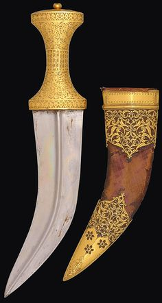 Indo-persian jambiya, century, Persian or Hyderabad India for the Arab market, blade of typical shape with central ridge, the gilt-copper hilt delicately engraved with dense floral motifs Swords And Daggers, Knives And Swords, Revolver, Indian Sword, Islamic World, Islamic Art, Dagger Knife, Historical Art, Cold Steel