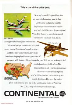 Continental Airlines 1968 Fan Jets - web credit here - http://www.aviationexplorer.com/airline_aviation_ads/vintage_airline_aviation_ads_218.htm