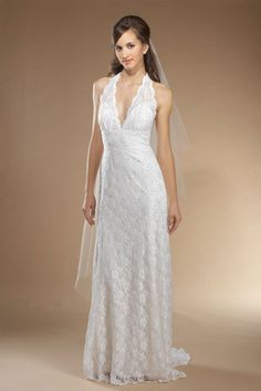 Empire waist chapel train sleeveless lace elegant bridal gown. With accent belt.