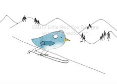 Cute little skiing bird Fox Design, Red Fox, Little Red, Skiing, How To Draw Hands, Greeting Cards, Snoopy, Bird, Cute