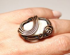 Copper ring gemstone ring white mother of pearl by BeyhanAkman