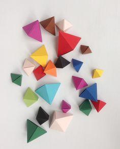 Colorful Paper Or Cardboard Geometric Gems DIY Origami Bipyramid Tutorial Arty Craft Fai Da Te Carta