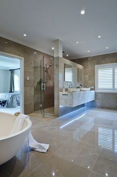Shower behind vanity