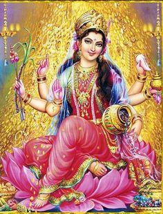 """""""Lakshmi is a Goddess of Fortune. Even though she is considered to be a Hindu Goddess, I personally think that she is a Universal Goddess. Anyone who chooses a spiritual focus for bringing more fortune and abundance into their lives can call upon her. She is the Goddess of wealth, prosperity, abundance, beauty and love. Lakshmi usually wears red saree and adorned with a gold jewelry. She is pictured sitting or standing on the lotus with gold coins pouring (To continue, click on the image)"""