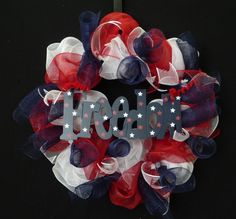 Red White Blue Patriotic Wreath Poly Mesh Wreath by wreathsbyrobin, $40.00
