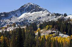 Autumn First Mountain Peak Snow. Silver Lake, Big Cottonwood Canyon, Utah, United States.