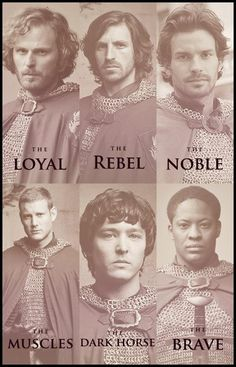 "The knights. Lol I like how Percival is the muscles. Personally I would have written ""the sleeveless"""