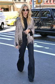 Rachel Zoe stood out in a delicately fringed jacket paired with flare pants while walking around New York City on Sept. 14, 2015.