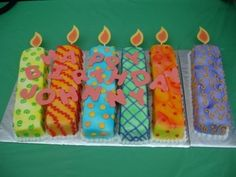 You could even do this with twinkies any of the loaf or roll choc covered..tube of colored icing make stripes dots etc..Baking home made always better though - Birthday Candles By JenM75 on CakeCentral.com