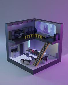 No photo description available. Computer Desk Setup, Gaming Room Setup, Isometric Art, Isometric Design, Cheap Tiny House, Cube World, Bedroom Setup, Video Game Rooms, Home Office Setup