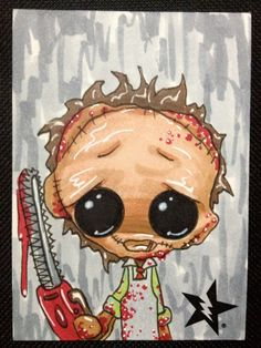 Sugar Fueled Leatherface Texas Chainsaw Massacre Horror lowbrow creepy cute big eye ACEO mini print on Etsy, $4.00