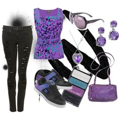 purple punk/casual.... i'd wear it, but with flats not skater shoes