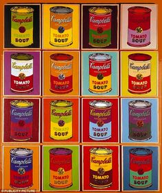 Andy Warhol - Cambell Soup Art - I love this style and also I've got a bag with the soup can design all over which I bought when I was 14 in York which I LOVE - Harriet