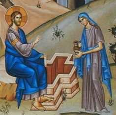 """According to tradition, the Samaritan woman at Jacob's well was named Photini, meaning """"enlightened."""" It is a fitting name for this saint who represents the Bride of Christ, the Church. For it was at a well that Abraham's servant met Rebekah who would become the bride of Isaac, and it was at a well that Jacob met his bride Rachel, and it was at a well that Moses met his bride Zipporah. And so it is at a well that Christ meets her who would represent his Bride, the fallen Samaritan woman."""