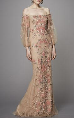 Off the Shoulder Beaded Gown by Marchesa | Moda Operandi