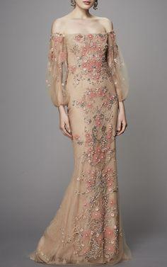 Off the Shoulder Beaded Gown by Marchesa | Moda Operandi