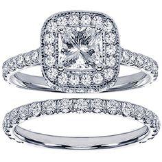 18k White Gold 2 1/2ct TDW Princess Diamond Bridal Set | Overstock.com Shopping - Top Rated Bridal Sets