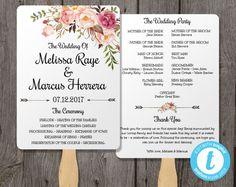 printable wedding program template rustic wedding fan program