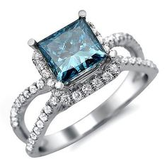 1.88ct Blue Princess Cut Diamond Engagement Ring 18k White Gold