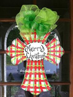 Awesome Christmas Door Decor Idea (Etsy) by regina Christmas Door Hangings, Christmas Door Decorations, Holiday Wreaths, Holiday Crafts, Holiday Fun, Christmas Ornaments, Holiday Decor, Merry Christmas Happy Holidays, Christmas On A Budget