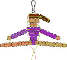 Gymnastic Pony Bead Pattern I remember doing these as a child! Pony Bead Projects, Pony Bead Crafts, Seed Bead Crafts, Pony Bead Animals, Beaded Animals, Pony Bead Patterns, Beading Patterns, Kandi Patterns, Bracelet Patterns