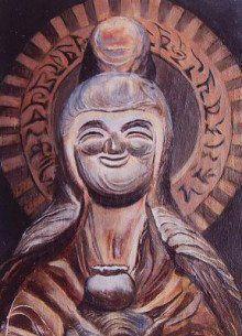 【新潟・安蔵田観音堂/薬師如来(江戸)】像高は57cm。欅材。一木造。木喰五行菩薩作。背銘には1805(文化2)年の記あり。像のある堂の前の小石は、疣や虫歯、物貰いなどができた時、その石を患部に擦りつけると治るとされている。 Japanese Monk, Buddhist Art, Buddha, Sculpture, Statue, Painting, Character, Image, Art