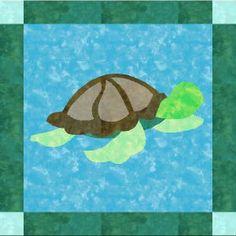 Sea Turtle Applique Quilt Block pattern