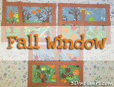 Fall Window using fall stickers - 3Dinosaurs.com