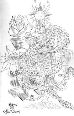 ideas for tattoo thigh dragon design Koi Dragon Tattoo, Dragon Koi Fish, Dragon Tattoo Drawing, Dragon Sleeve Tattoos, Koi Fish Tattoo, Dragon Tattoo Designs, Dragon Art, Tattoo Art, Tattoo Drawings