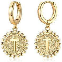 Initial Huggie Hoop Earrings for Women Girls, 925 Sterling Silver Post 14K Gold Plated Dainty Cute Hypoallergenic Dangle Hoop Initial Earrings Jewelry Gift for Women Girls