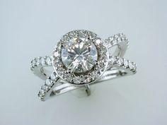 2.50 Carat Moissanite 14K White Gold Engagement Ring