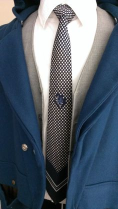 White Polka Dot Floral Stamp Navy Blue Silk Preppy Tie by ENGARLAND on Etsy