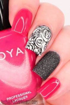 sketch monochrome roses, black caviar posh & hot pink nails...x