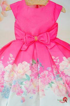 Vestido Infantil de Festa Pink e Flores Petit Cherie