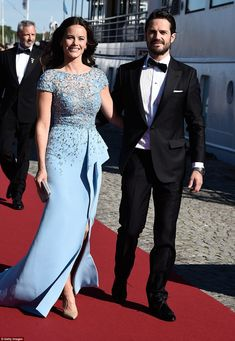 Sofia Hellqvist wears Zuhair Murad at pre-wedding reception; beside her fiance Prince Carl Philip of Sweden