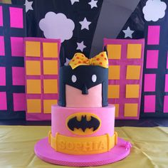 YAY! Party Pic!!! Because She's Batman! Happy 4th Birthday Sophia! Top Tier - Chocolate Cake & BC Lower Tier - Vanilla Cake & BC All Covered in Pink Tinted White Chocolate Ganache #birthday #happybirthday #batman #batmanisforgirlstoo #instabatman #cake #chocolate #black #pink #yellow #bows #cakesofinstagram #tsucakes #superheroes #capedcrusader #batmanbirthdaycake #batmanbirthdaygirl #sweets #sweetsbymonica #customcakes #love #ganache #yummy