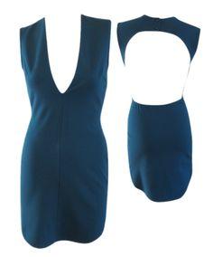 Plunge Neckline Bodycon Dress - Dark Teal #shoppitaya