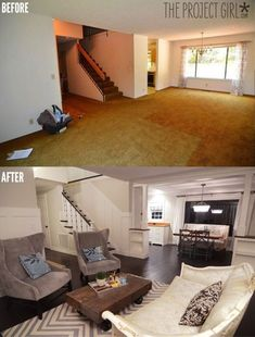living room makeovers before and after white walls and unfinished cement floors did nothing to help this living room finishing the floors in a u2026