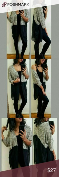 《••NEW••》GRAY CREAM MARELED CHIFFON CARDIGAN Total must have. This open cardigan features a knit top and a flowy chiffon bottom. It's lightweight and perfect. Fits TTS.   Sizes available: S M l •Modeling size Medium •  ●•••》PRICE FIRM UNLESS BUNDLED《•••● JMAY4354 Sweaters Cardigans