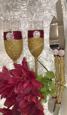 Gold and Burgundy 4pc Set Bride and Grooms Gift bridesmaids.